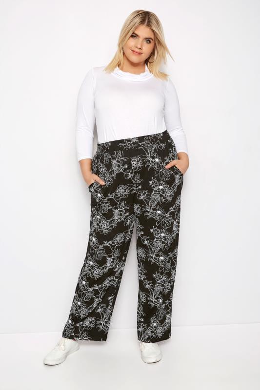 Black Floral Wide Leg Trousers