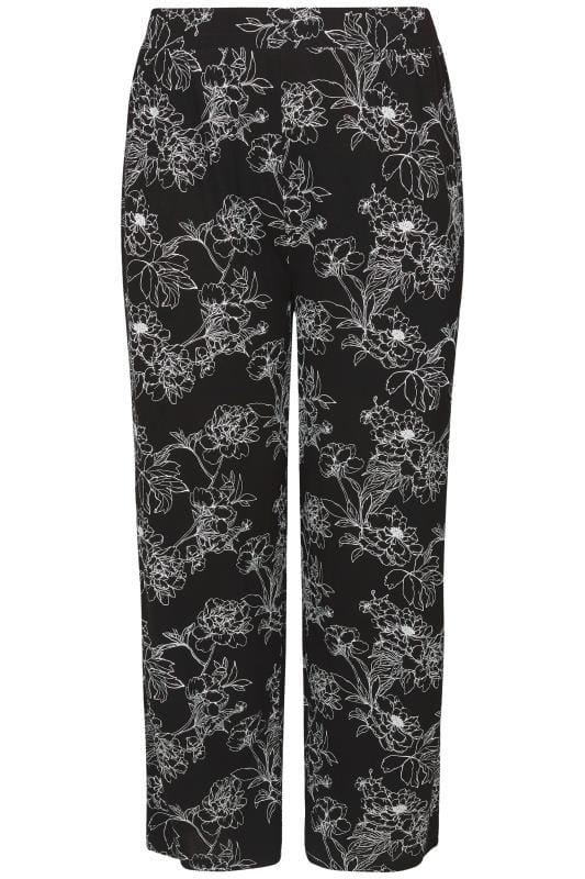 Zwarte broek met wijde pijpen & bloemenprint, grote maten 44