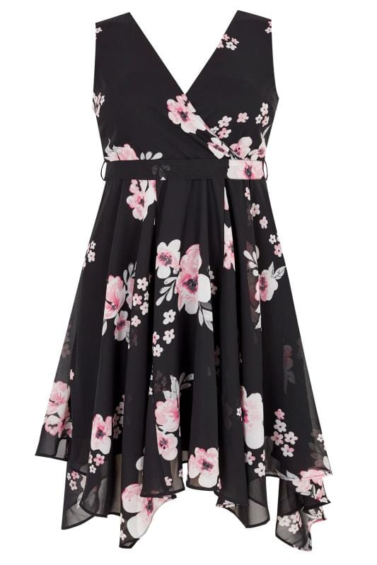 Black & Pink Floral Wrap Dress With Hanky Hem