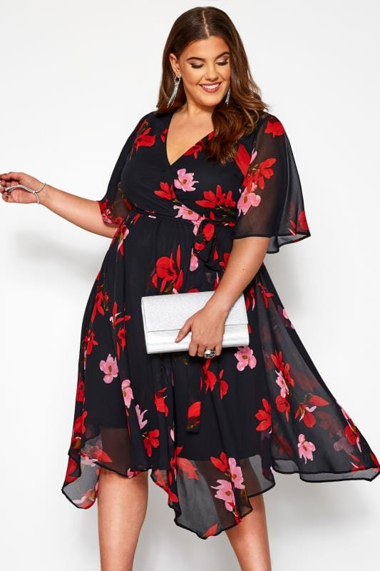 Plus Size Floral Dresses Black Floral Wrap Hanky Hem Dress