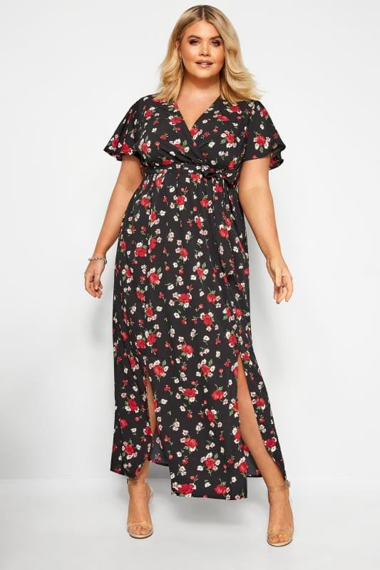 Plus Size Maxi Dresses Black Floral Wrap Maxi Dress