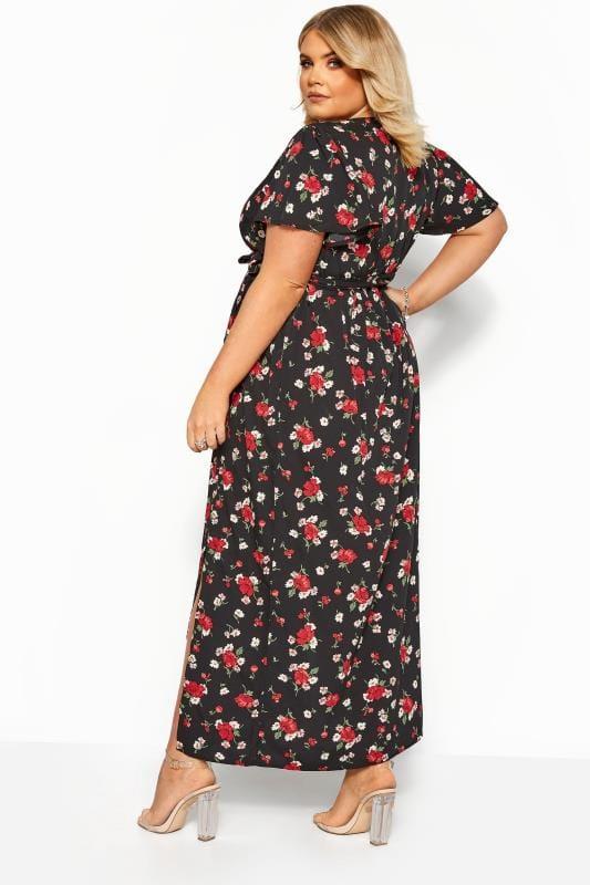 Black Floral Wrap Maxi Dress