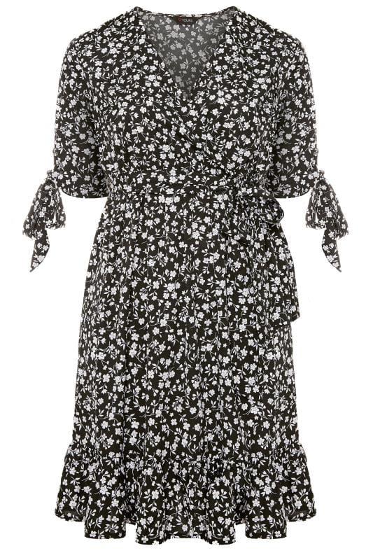Plus Size Floral Dresses Black Floral Wrap Ruffle Hem Dress