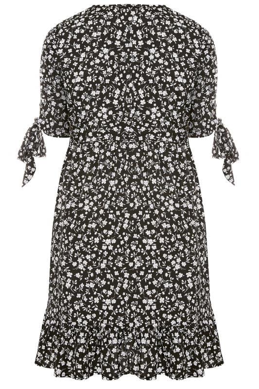 Black Floral Wrap Ruffle Hem Dress