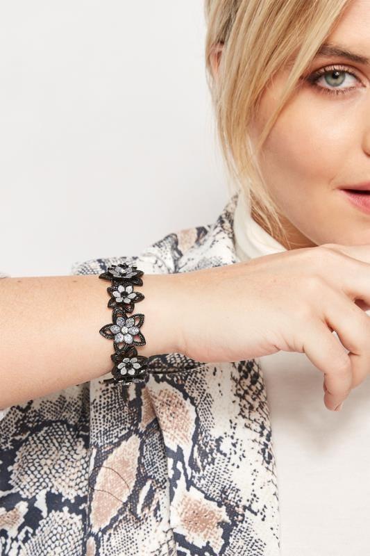 Большие размеры | Plus Size Jewellery Black Flower Bling Bracelet