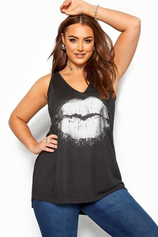 Black Foil Lips Cross Back Vest Top