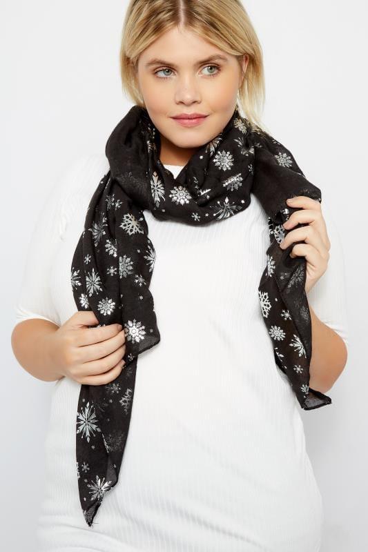 Plus Size Scarves Black Foil Snowflake Scarf