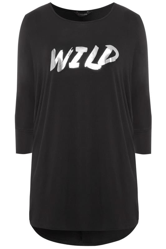 Black Foil 'Wild' Slogan Extreme Dipped Top