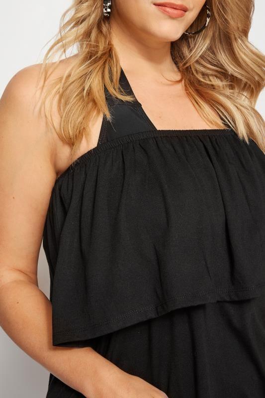 Black Frill Bandeau Beach Dress
