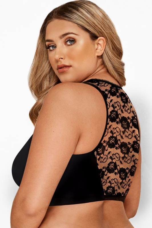 Plus Size Non-Padded Bras Black Front Fastening Bra