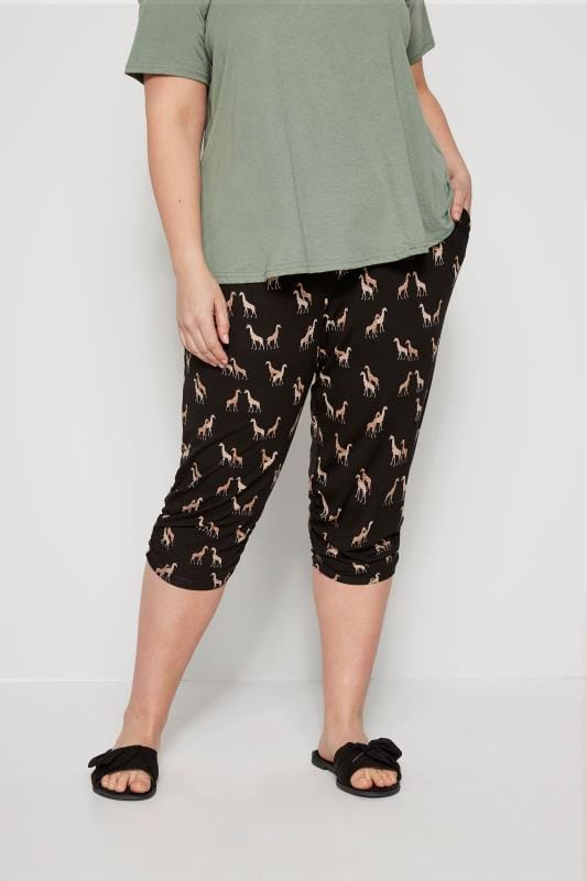 Black Giraffe Cropped Harem Trousers