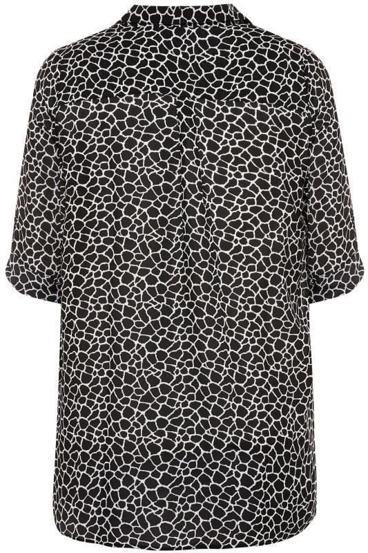 Black Giraffe Print Chiffon Blouse