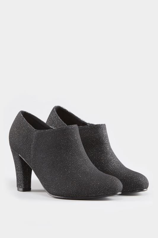 Black Glitter Boot Heels In Extra Wide Fit