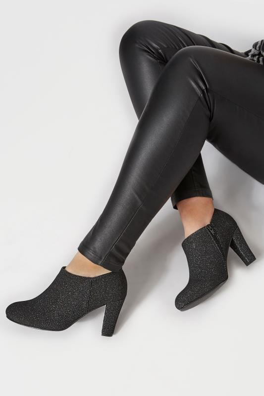 Wide Fit Boots Black Glitter Boot Heels In Extra Wide Fit