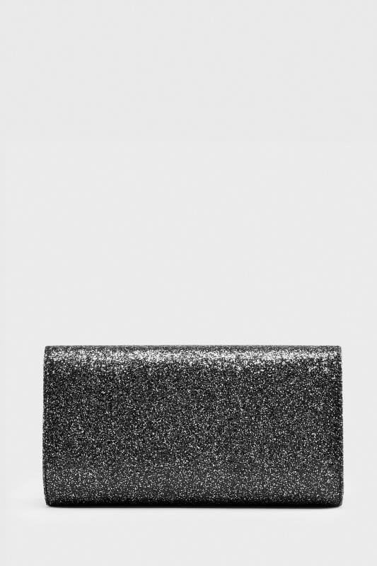 Black Glitter Fold Over Clutch Bag