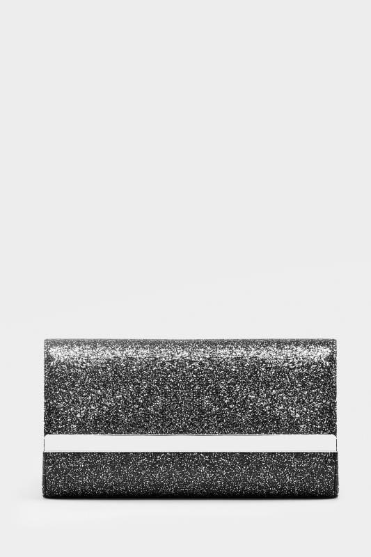 Clutch Bag mit Glitzerdruck - Schwarz