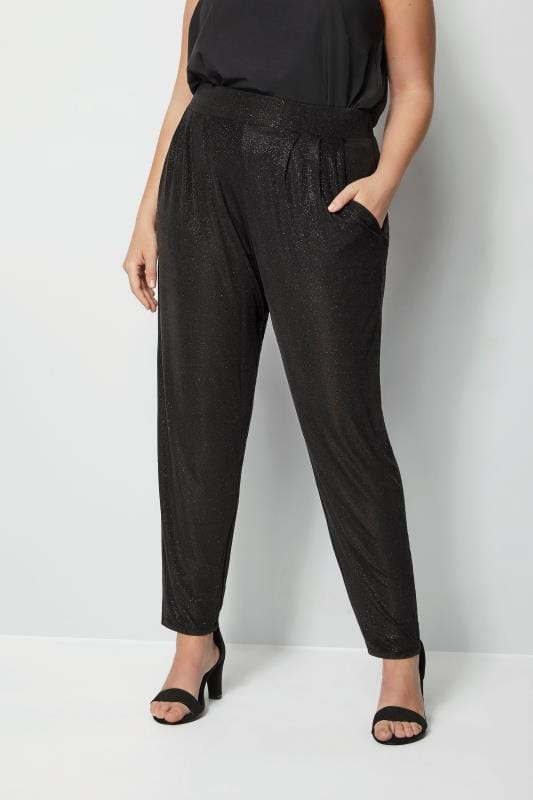 Plus Size Harem Trousers Black Glitter Harem Trousers