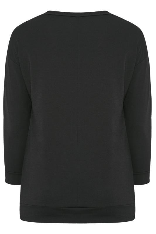 Black Glitter Santa Slogan Sweatshirt