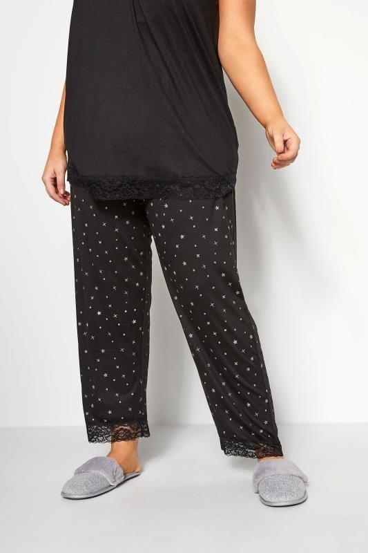 Plus Size Loungewear Black Glitter Star Print Lounge Pants