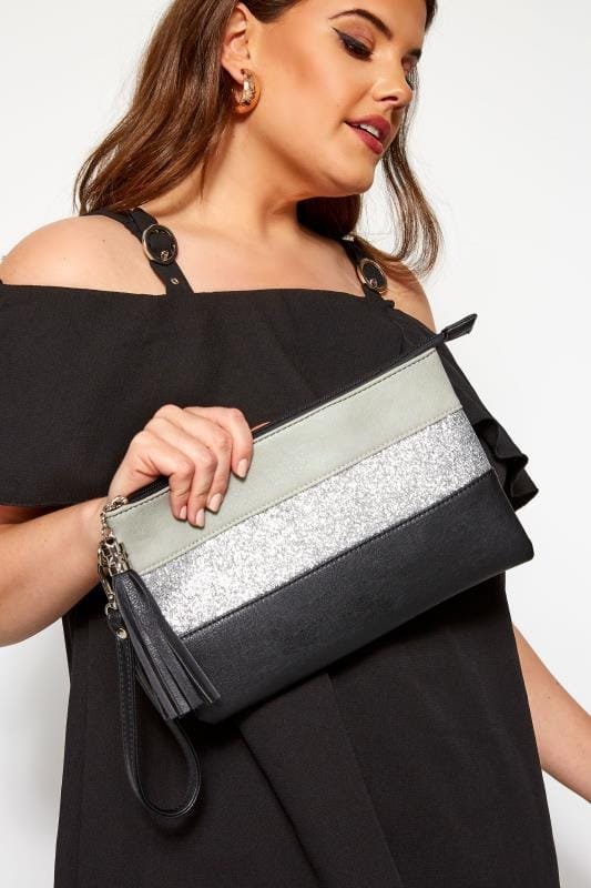 Unterarmtasche mit Streifen - Schwarz mit Glitzer