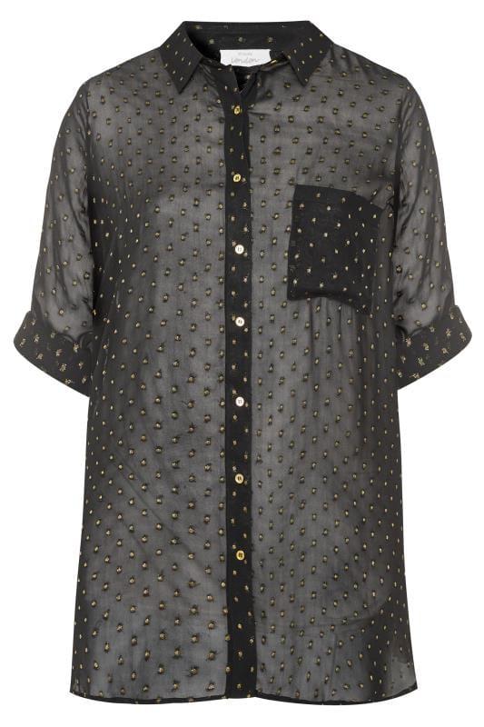 YOURS LONDON Black & Gold Polka Dot Chiffon Shirt