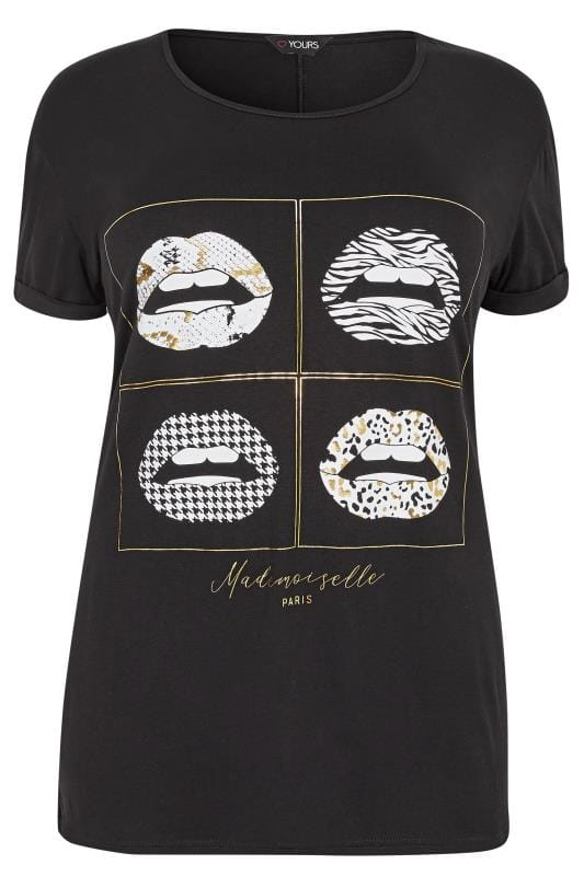 Black & Gold Foil Lip T-Shirt