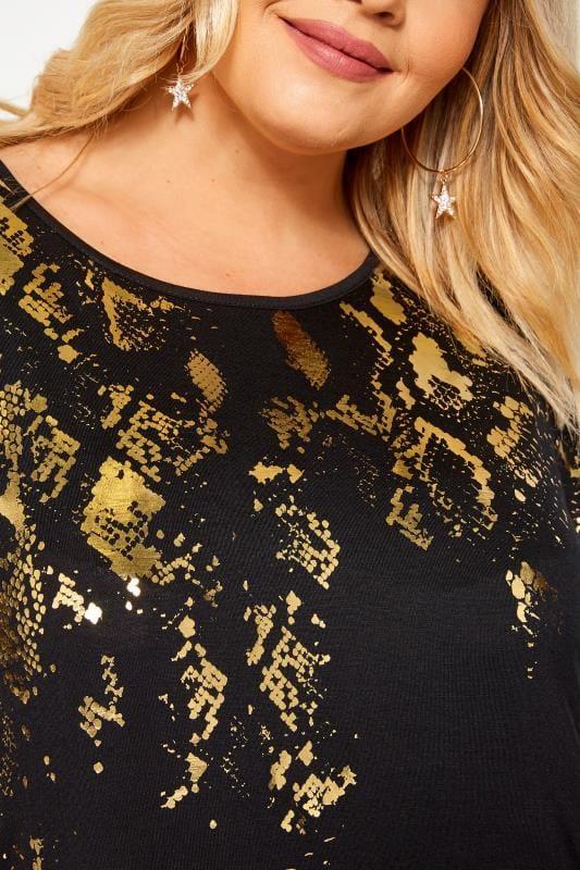 Black & Gold Foil Snake Print Top