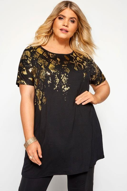 Plus Size Jersey Tops Black & Gold Foil Snake Print Top