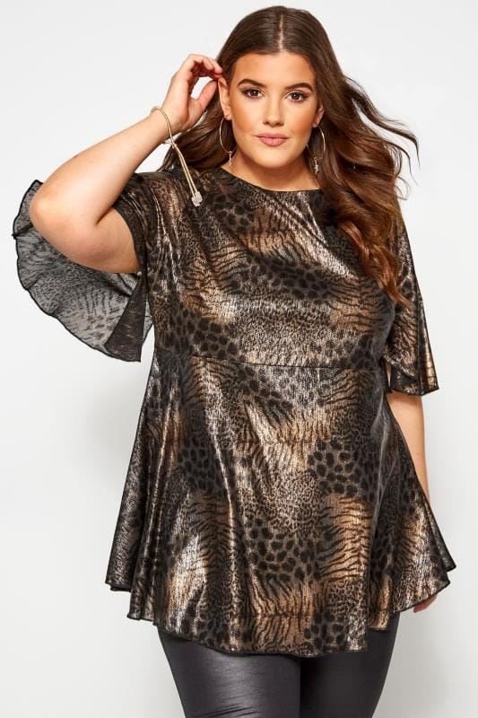 Plus Size Blouses Black & Gold Metallic Mixed Animal Print Blouse
