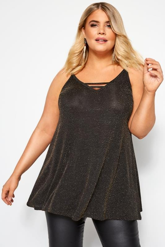 Plus Size Party Tops Black & Gold Textured Metallic Cami Top