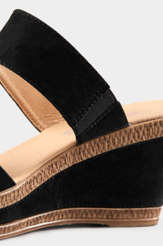 Black Gold Tone Detail Wedge Mules In Extra Wide Fit