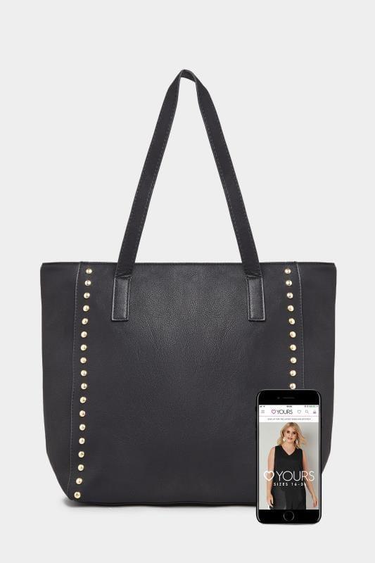 Black Gold Tone Stud Shopper Bag