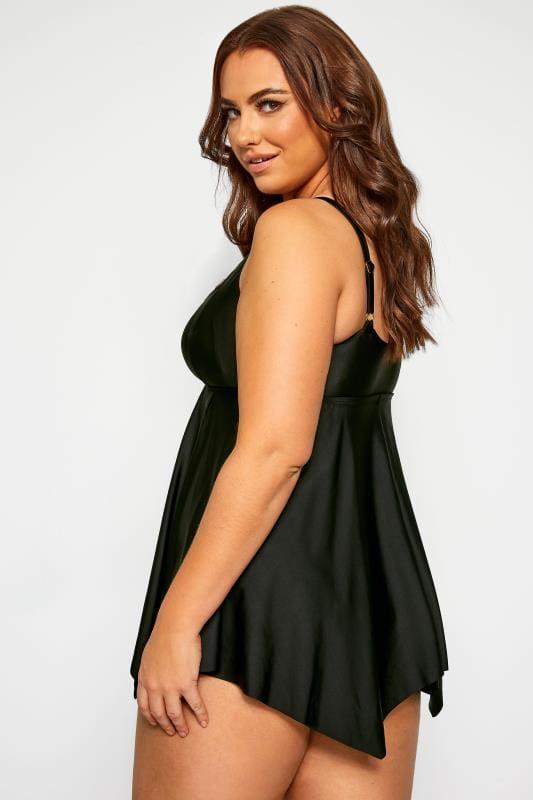 Black Gold Trim Neckline Swim Dress