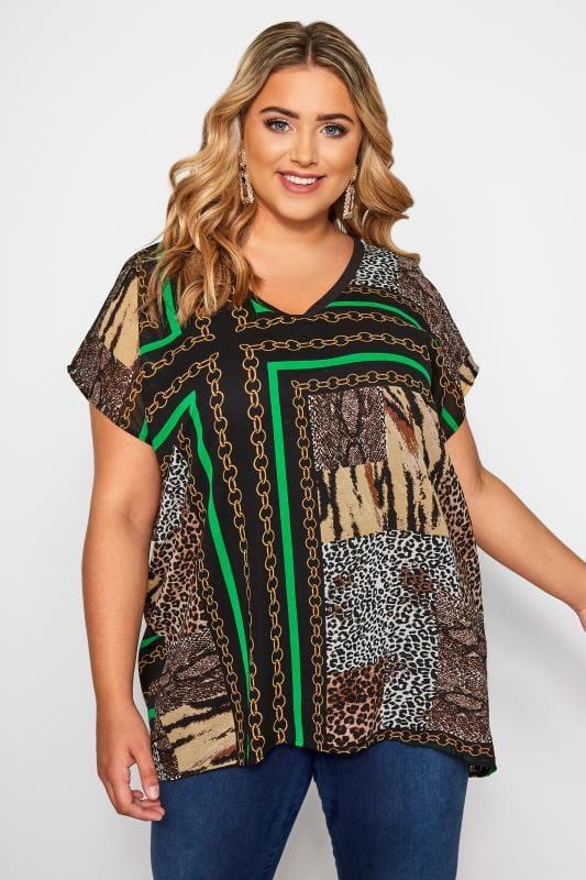 Plus Size Blouses & Shirts Black & Green Animal Chain Print Top