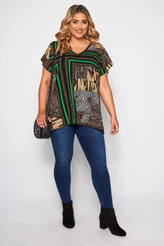 Black & Green Animal Chain Print Top