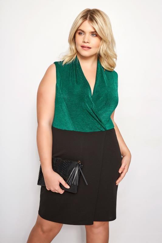 Black & Green Wrap Bodycon Dress