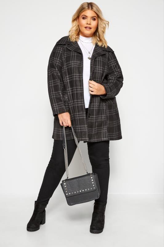 Plus Size Coats Black & Grey Check Revere Collar Fleece Coat