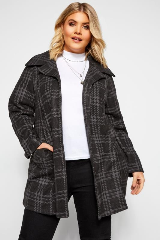 Plus Size Coats Black & Grey Check Revere Collar Fleece Coat