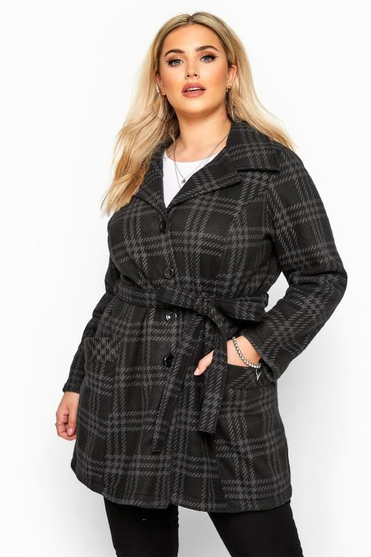 Black & Grey Check Revere Collar Fleece Coat
