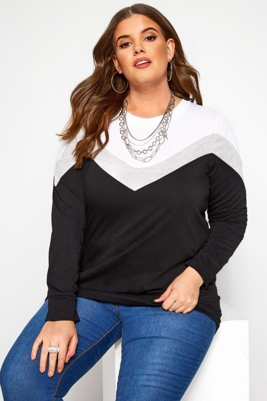 Plus Size Sweatshirts Black & Grey Colour Block Chevron Sweatshirt