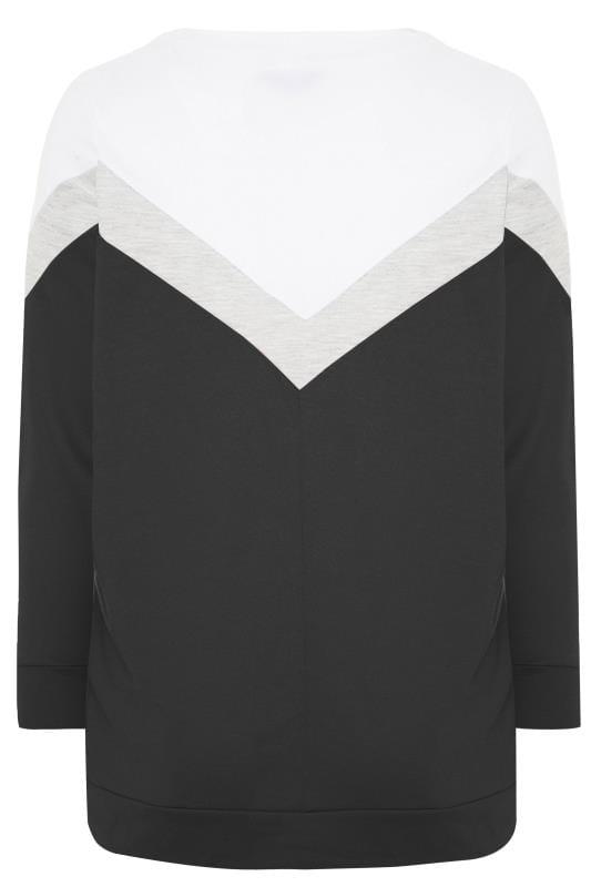 Black & Grey Colour Block Chevron Sweatshirt