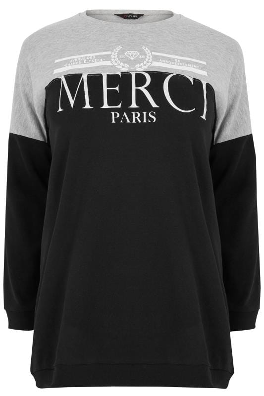 Black & Grey Colourblock Slogan Print Sweater