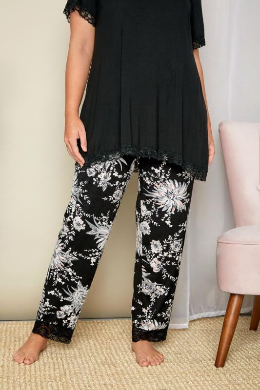 Black & Grey Floral Lace Loungewear Bottoms