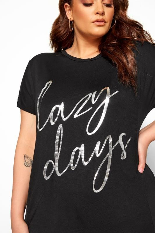 Black & Grey 'Lazy Days' Slogan Animal Print Lounge Set