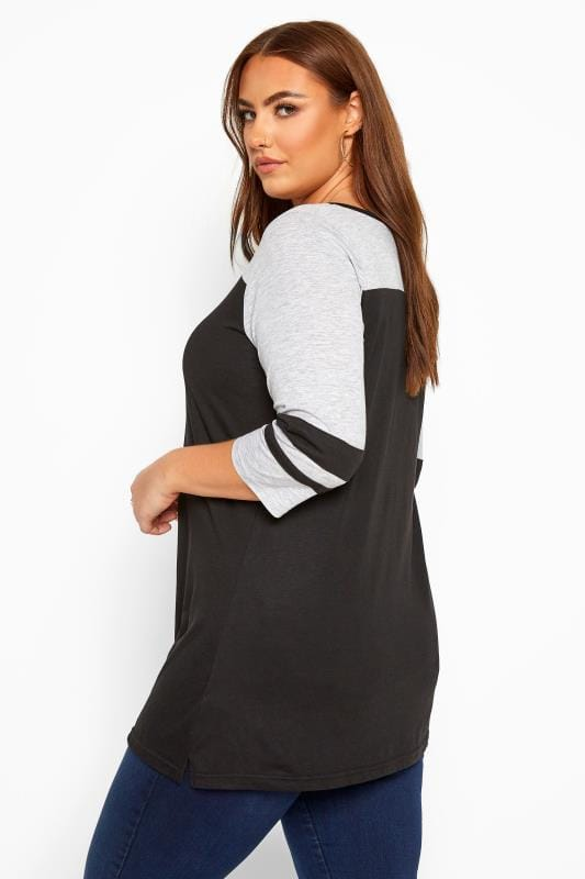 Black & Grey Marl Lattice Varsity Top