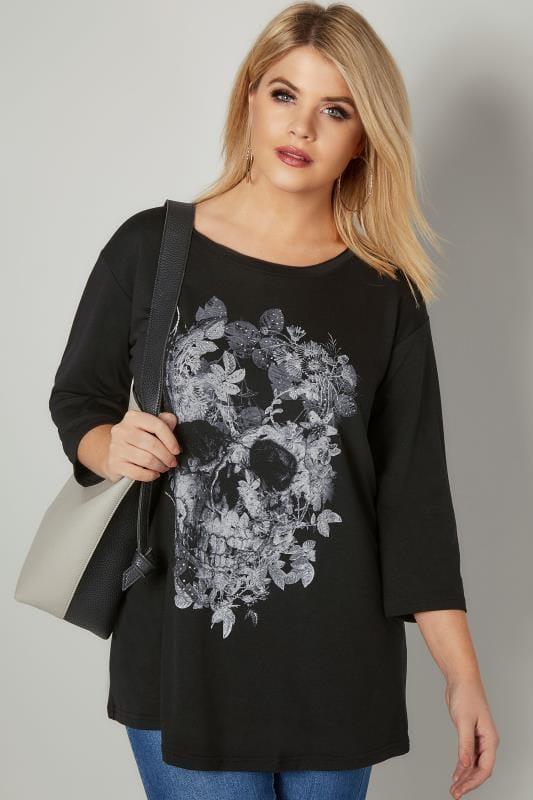 Black & Grey Skull Print Jersey Top With Stud Embellishment