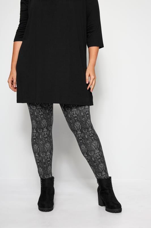 Plus Size Fashion Leggings Black & Grey Snake Print Leggings
