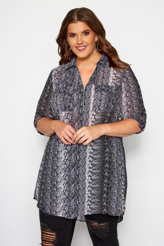 Plus Size Shirts Black & Grey Snake Print Shirt With Zip Front