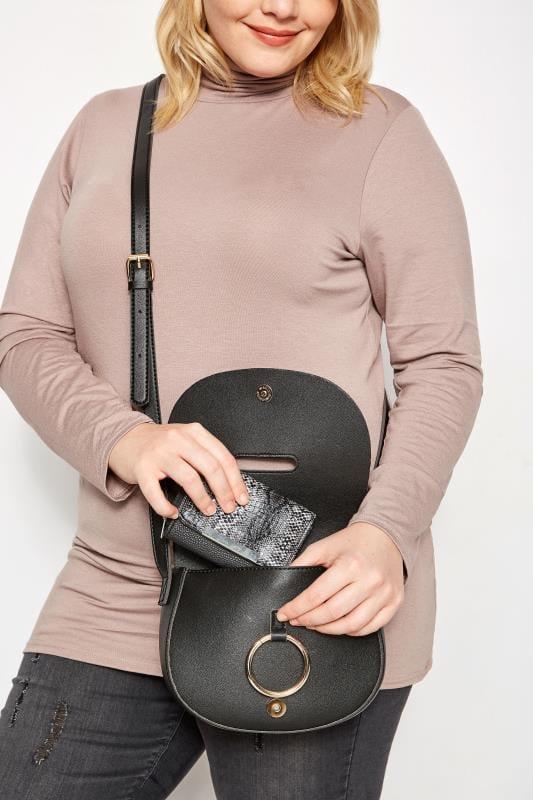 Bolsos y carteras Tallas Grandes Cartera negra y gris piel sintética serpiente cremallera cierre barra metálica