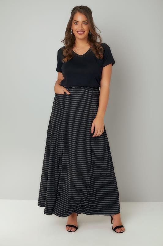Black & Grey Stripe Maxi Skirt